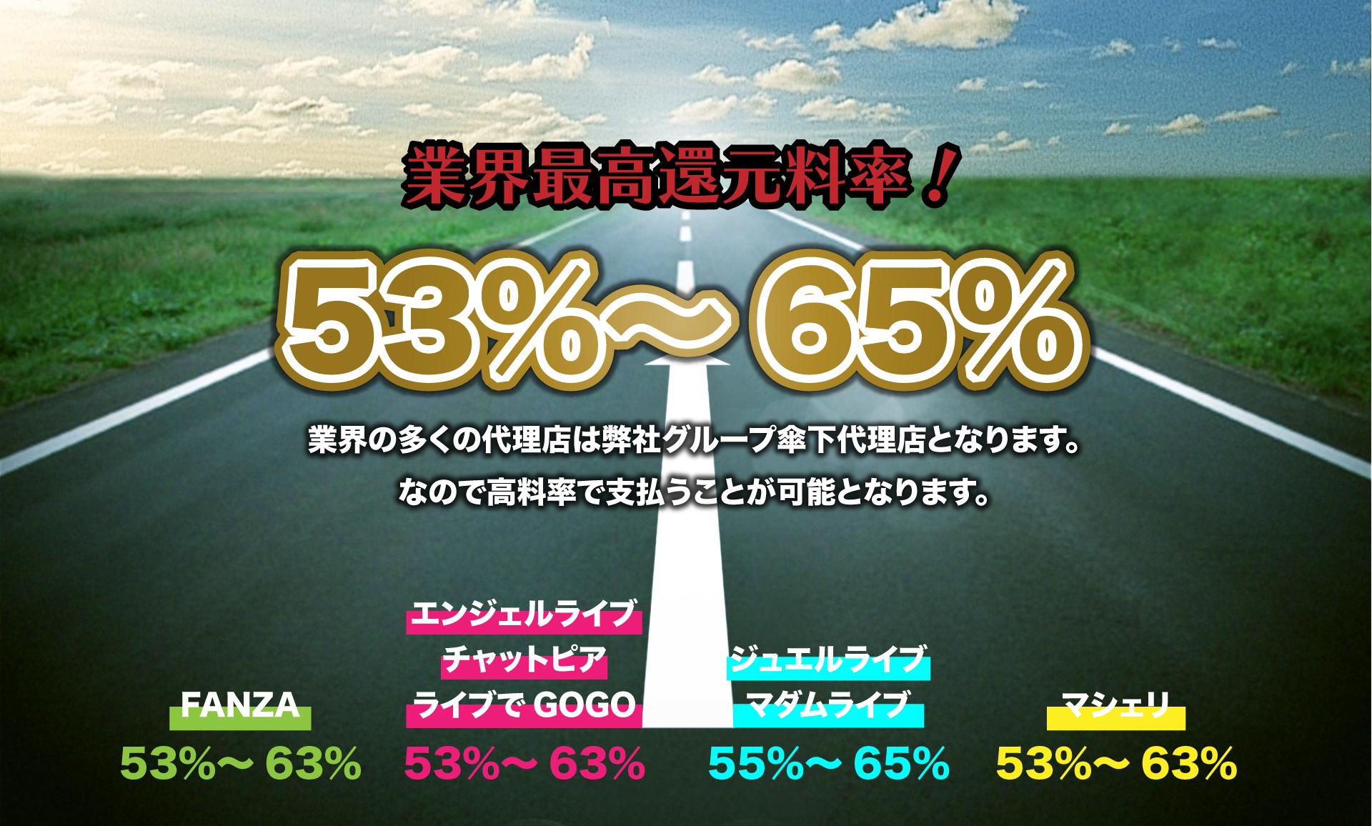 業界最高還元料率!53%~65%!